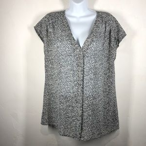 Loft black print blouse size large